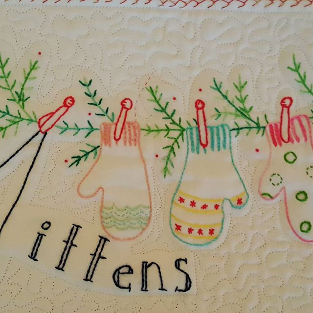 M is for mitten.  Getting ready for a weekend of cold weather.  #handembroidery #embroideredquilts #crabapplehill #snowmen
