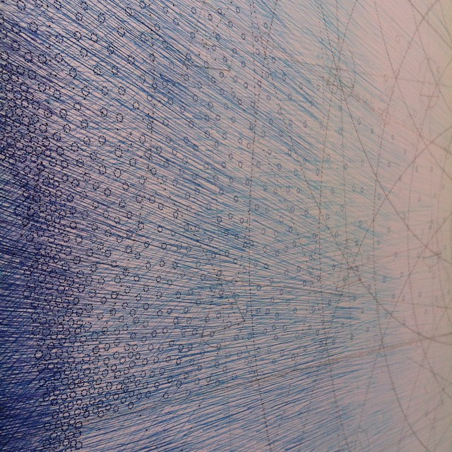Circles and dots, circles and dots, #circles and #dots. It's enough to drive a girl crazy. A different 5% detail of my largest #drawing to date. #art #geometry #blue