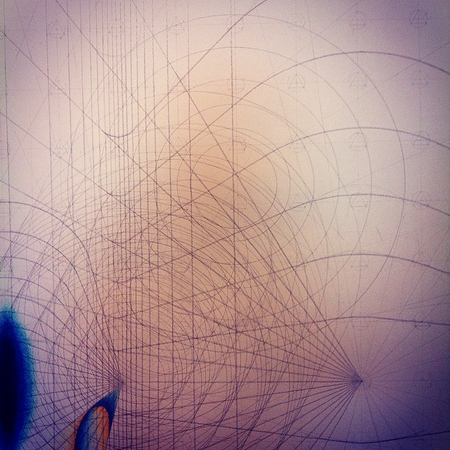 Seems appropriate to be obsessing over #circles on #pi day. Only another 80 odd to go to finish this section. Happy Pi Day. #art #drawing #geometry #Iceland #residency #studio