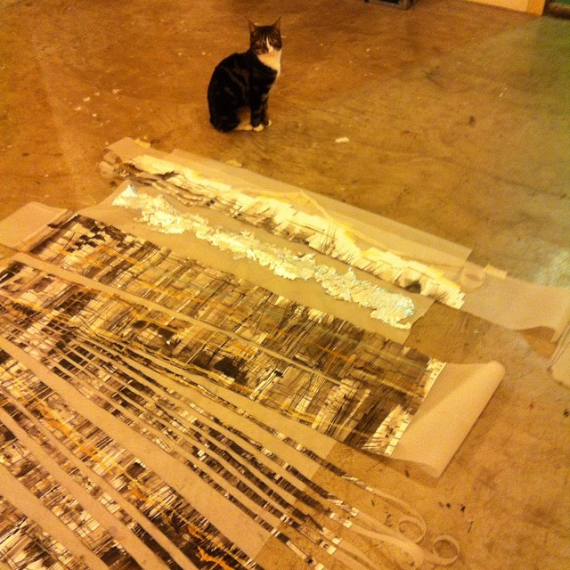 Yesterday's #studio explorations were out of character to say the least. Kisa the cat gives me her verdict. #art #painting #drawing #silverleaf #paper