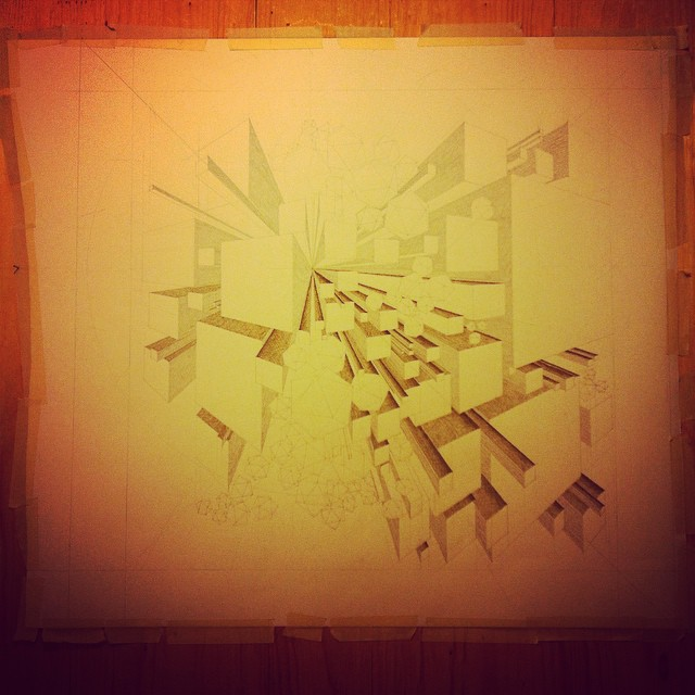 Moving in the right direction I think. 'Petra Weeps' #art #drawing #geometry #geology #cuboid #icosahedron #Iceland