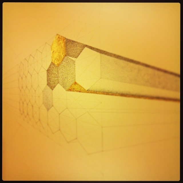 #geometric #drawing. Work in progress. #art #gold #hexagons #structure