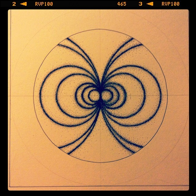 I have a pain in my arm but this #magnetism #drawing is finished. #art #science #sculpture