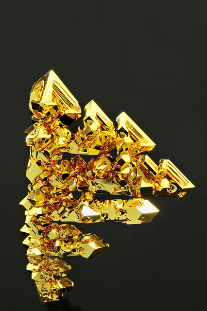 beautiful-minerals: octahedral gold crystals by fluor_doublet on Flickr.
