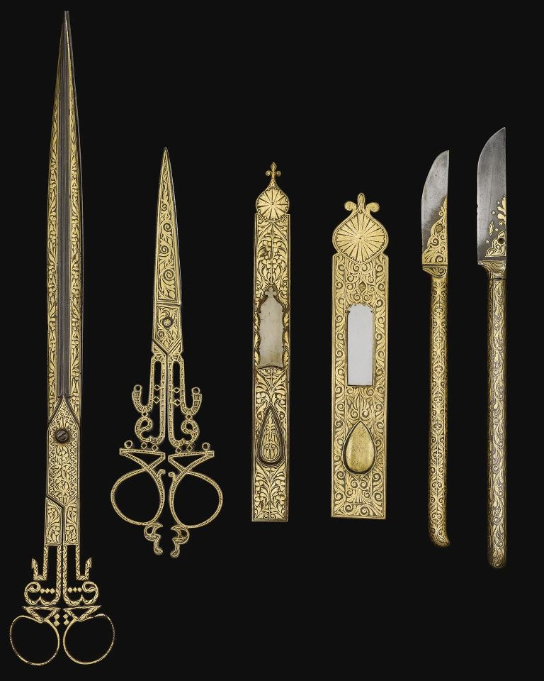 thegiftsoflife :              AN OTTOMAN SET OF DAMASCENED CALLIGRAPHER'S TOOLS, 19TH CENTURY   Osmanlı Hattat Aletleri, 19.Yüzyıl