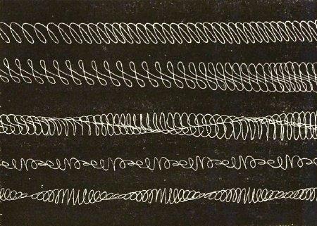 """un :      the-rx :      harmonic writing by Marey    visualising curves, from page 116 of Etienne-Jules Marey, """"Du Mouvement dans les Fonctions de la Vie: Leçons faites au Collège de France"""", Baillière, Paris, 1878.   via  Joost Rekveld's light matters , via  dataisnature      (via  ramage )"""