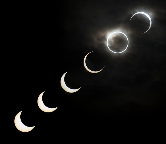 metaconscious :     A montage of the May 20, 2012 annular eclipse as seen near Ikebukuro in Tokyo, Japan between 7:08 to 7:38 a.m. local time.