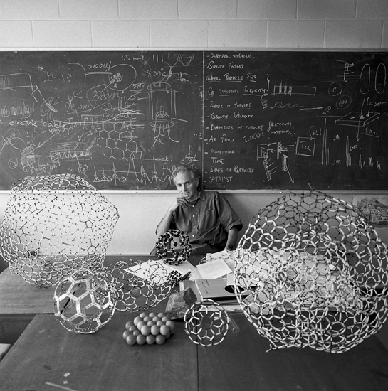 rhea137 :      Professor Sir Harold Kroto on the day after his Nobel Prize was announced – he received the 1996 Nobel Prize for Chemistry along with Robert Curl and Richard Smalley for discovering fullerenes, spherical carbon molecules sometimes known as 'Buckyballs'.