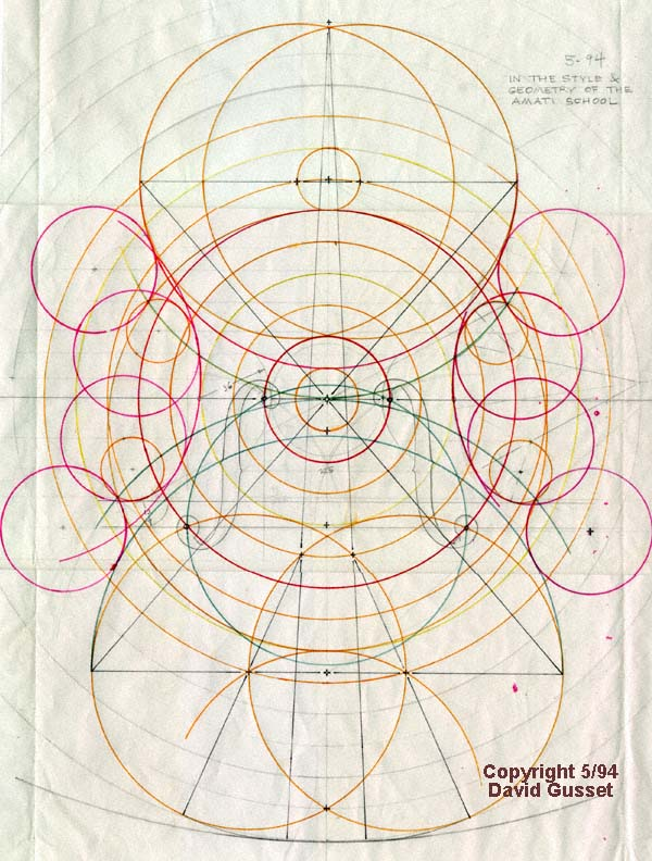 David Gusset/Violin's design on the basis of the Golden Ratio.
