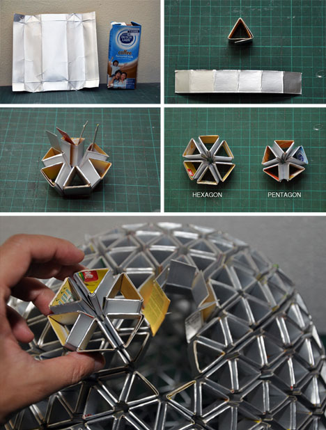 spatula :     (via  DIY Geodesic Disco-Ball Lamp from Upcycled Drink Boxes | Designs & Ideas on Dornob )