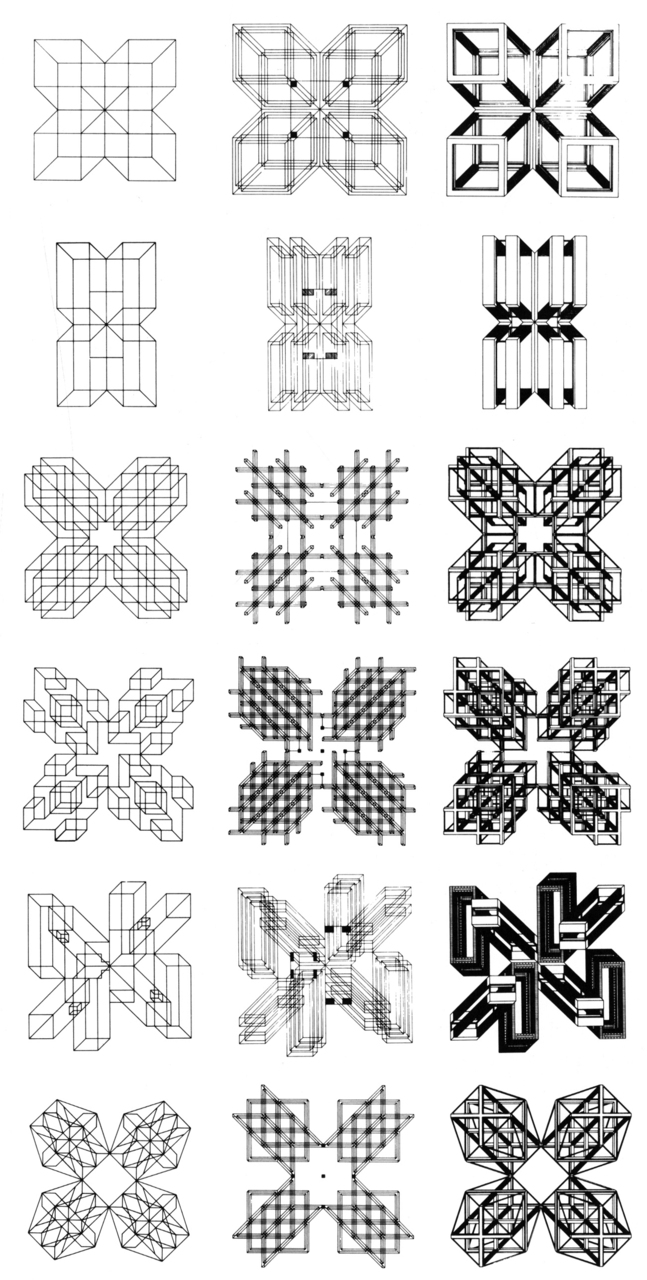 purestform :     reblogged  archiveofaffinities    Stanley Tigerman The Formal Generators of Structure, Drawings by Gordon Crabtree, 1965-1968