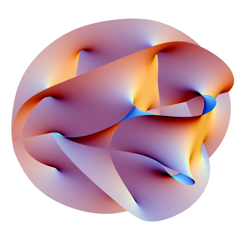 deepseamantis: the calabi-yau manifold: a graphical representation of a higher dimensional surface. these forms are often utilised in modelling the difficult multi-dimensional physical attributes of quantum mechanics (like super string theory) http://library.thinkquest.org/27930/stringtheory5.htm