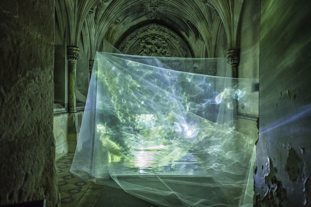 'Lux Obscura', a collaborative installation in the Mortuary Chapel at Ushaw College with Rosie Reed Gold. Click  here  for more information. Photograph by Rosie Reed Gold.