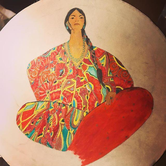 Tambourine. Almost done... Elegant Resistance- AOC Inspired #resistanceart #drawingondrums #alexandriaocasiocortez