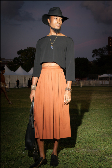 "I LOOOOOOVE! I love this rust colored skirt for fall paired with black crop top (boatneck, ¾"" sleeve to boot, whaaaat?!?! YASSSS!), this boi ain't playin' in that black brimmed hat and leather bag transforming a possible prairie look to a high end cocktail hour. This image embodies new beauty in America. We are all intersectional beings and  there are no boundaries but the ones we place on ourselves. We are as beautiful, gorgeous, dapper, effortless as we feel. AFROPUNK lesson number #444 Ditch the pants, get a skirt, be a BOSS! It doesn't hurt to look like    Taye Diggs    in the process.    #Winning combo: CROP TOP 