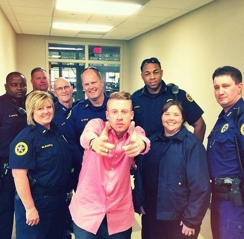 """me and the police lol"" photo shared by Macklemore on his FB"