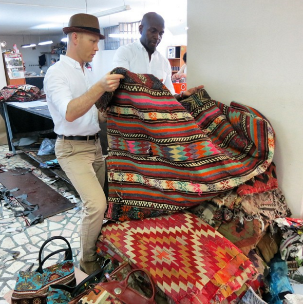 """Picking Kilim for our new loafers, totes, and travel bags."" Turkey, Res Ipsa USA"
