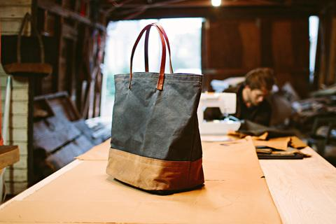 large waxed canvas tote by sturdy brothers