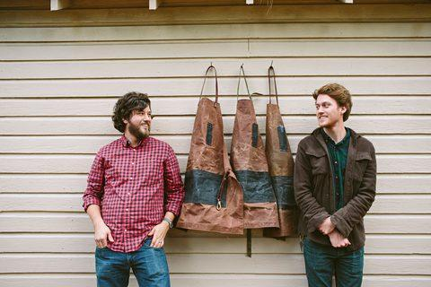 study brothers waxed canvas aprons