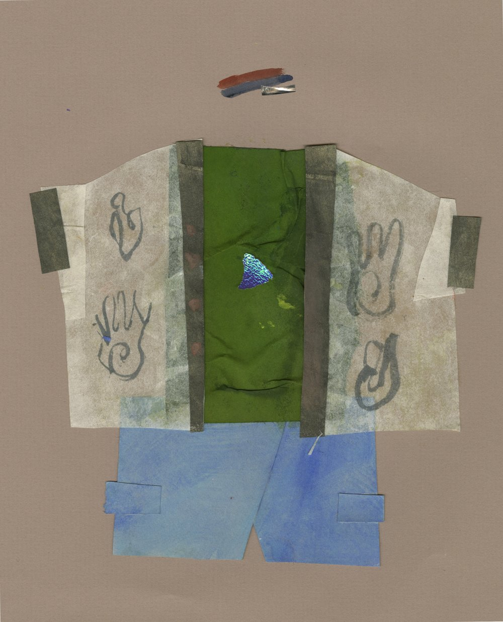 Forest Boy Who Overslept   Gouache and Collage  2016