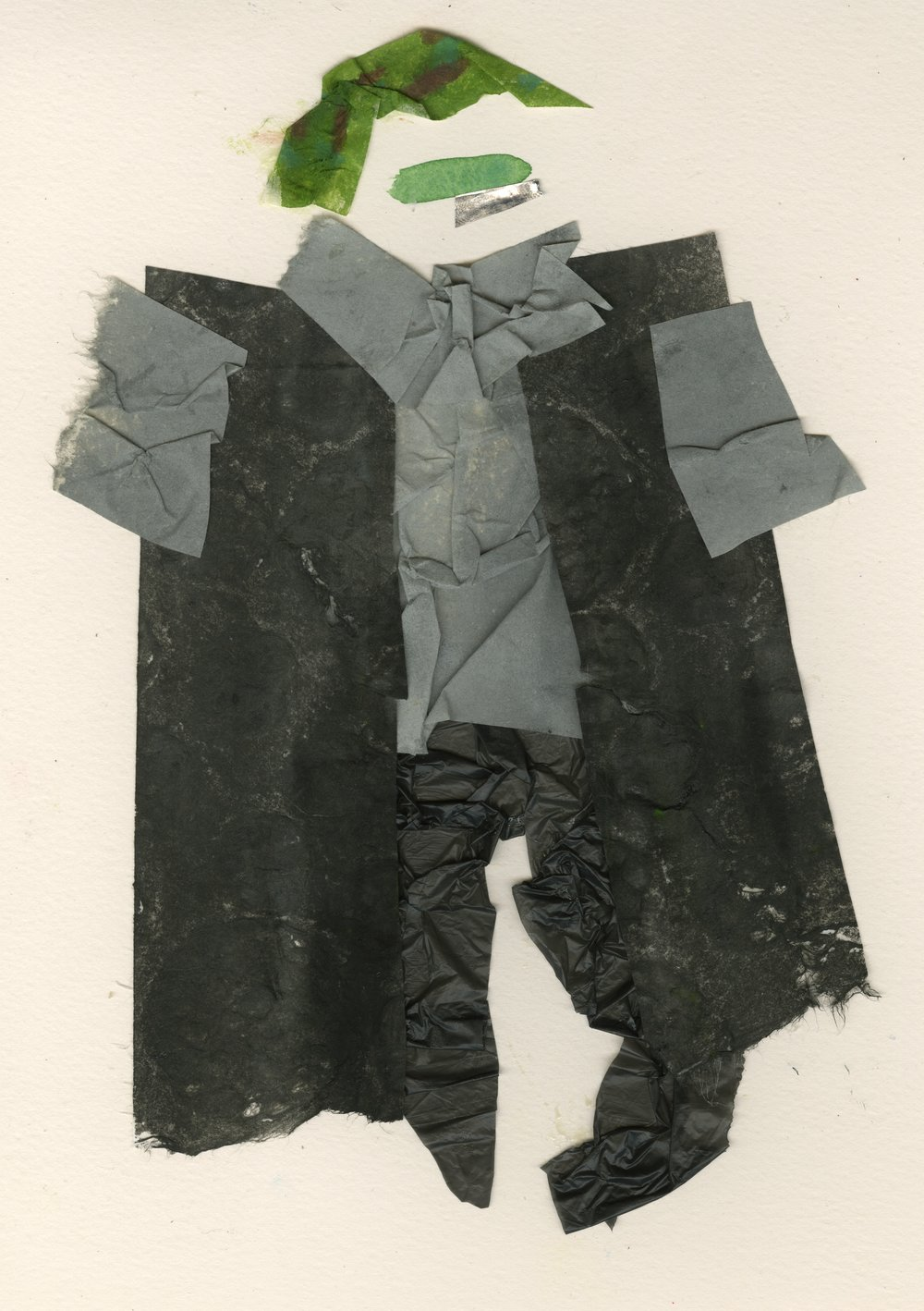 Druid Boy Leaves the Forest   Gouache and Collage  2016