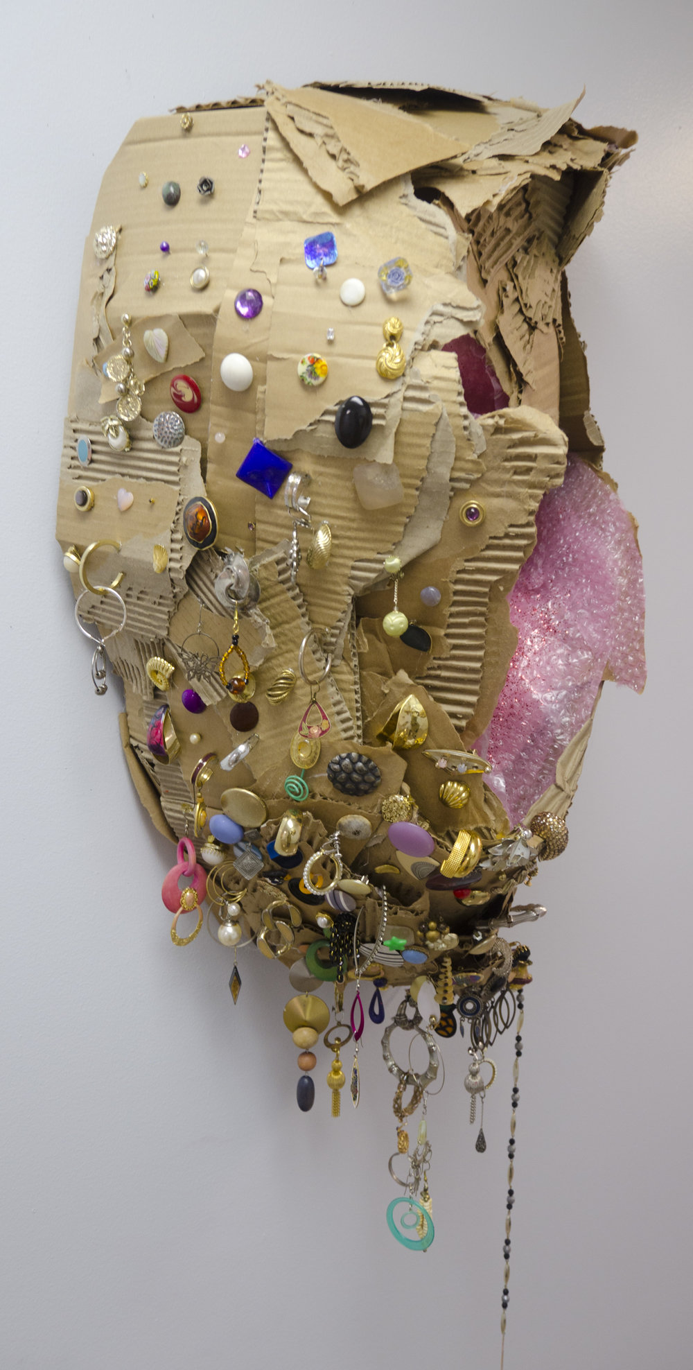 The Right Side  (Detail)  Cardboard, bubblewrap, glitter and earrings   2016