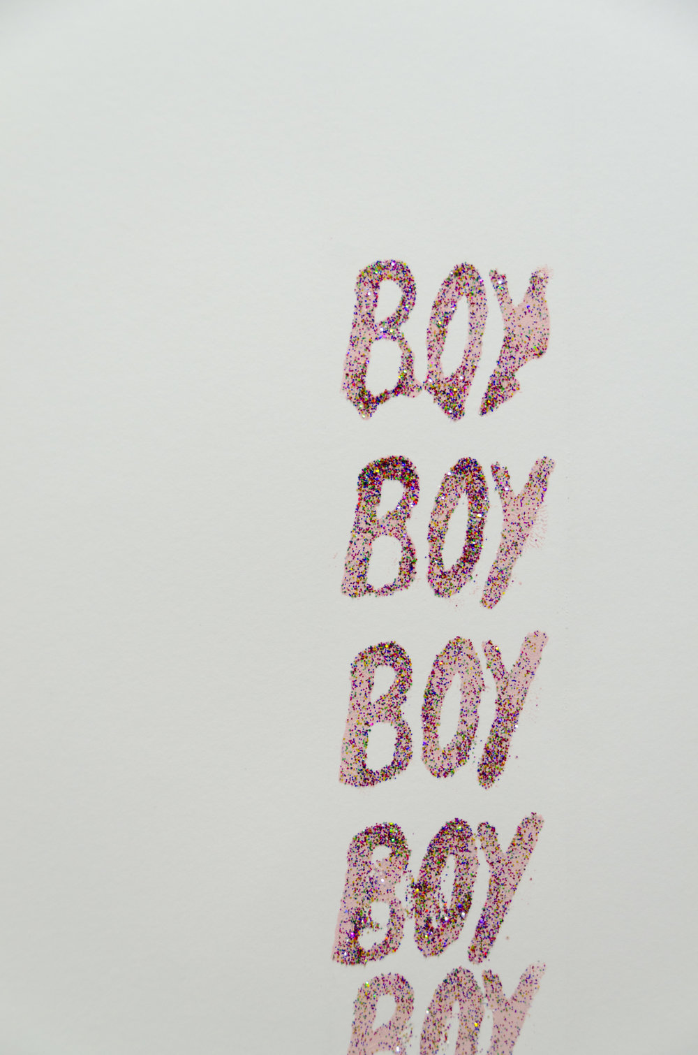 Boy  (Detail)  Pantyhose and embroidery hoop screen print on paper, gloss acrylic base, acrylic, nails, embroidery hoop, pantyhose, and glitter  2017