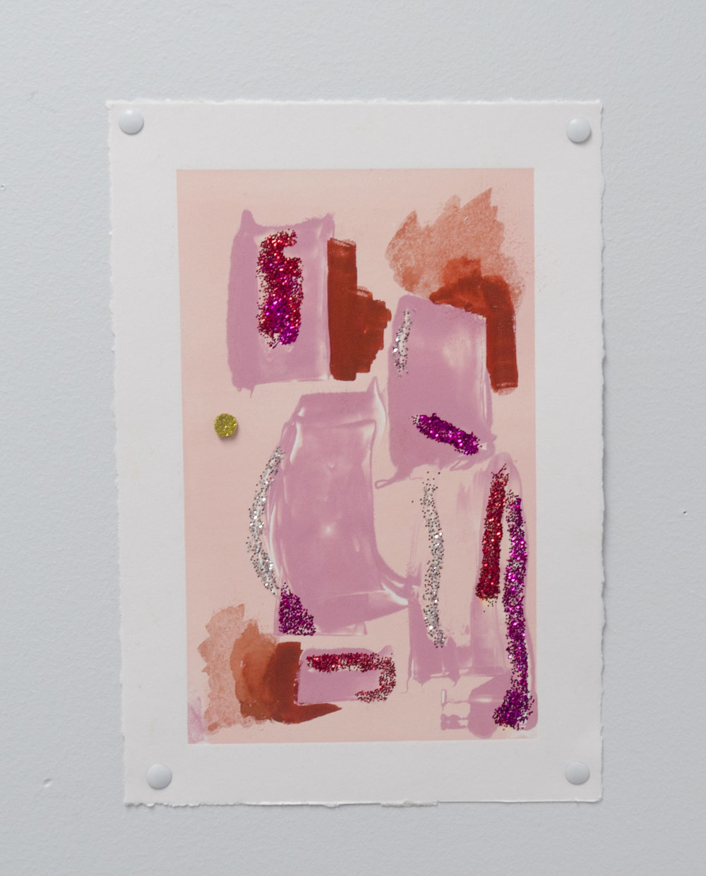 Smear   Glitter, personal lubricant, felt, and monotype on paper  2017