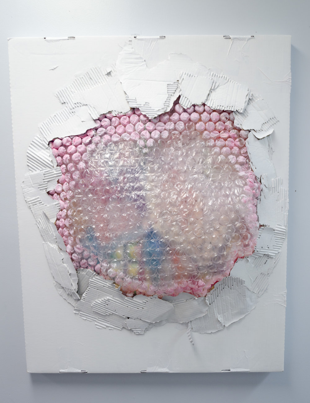 Surface Tension    Cardboard, bubble wrap, acrylic paint, glitter, and sequins  2017
