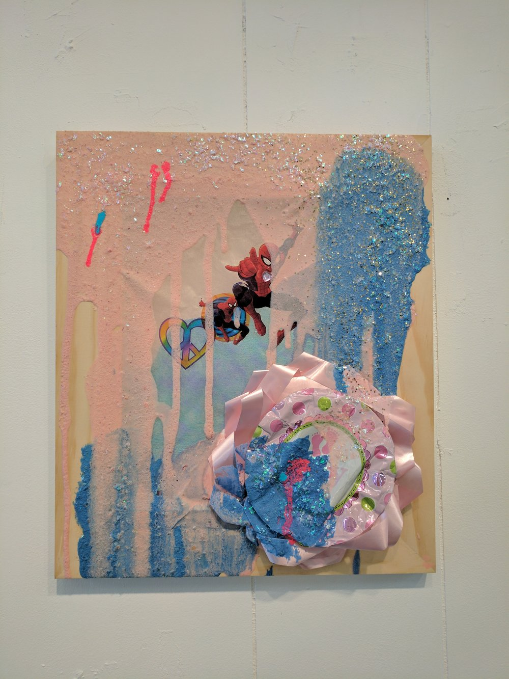 "It's a Party 7   Balloon, acrylic, sugar past, glitter, confetti, temporary tattoos, and paper on wood  2017  From ""Cry if I want 2"" a collaborative show with Jessica Bingham  Her website: http://www.jessicabinghamart.com/"
