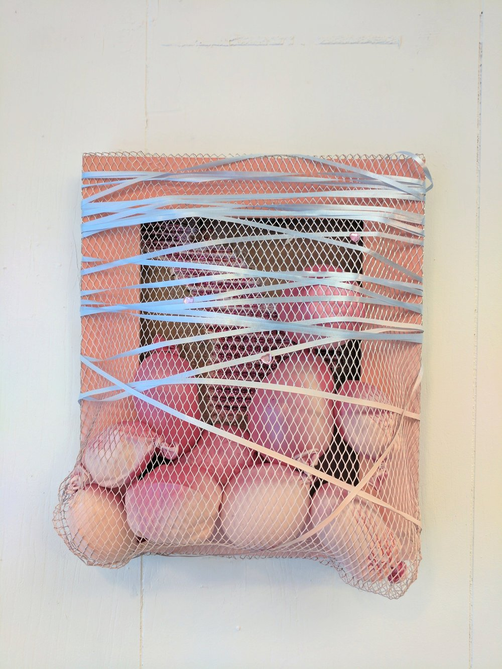 "It's a Party 2   Balloons, wire mesh, ribbon, wood, cardboard, spray paint, glitter, and plastic jewels  2017  From ""Cry if I want 2"" a collaborative show with Jessica Bingham  Her website: http://www.jessicabinghamart.com/"