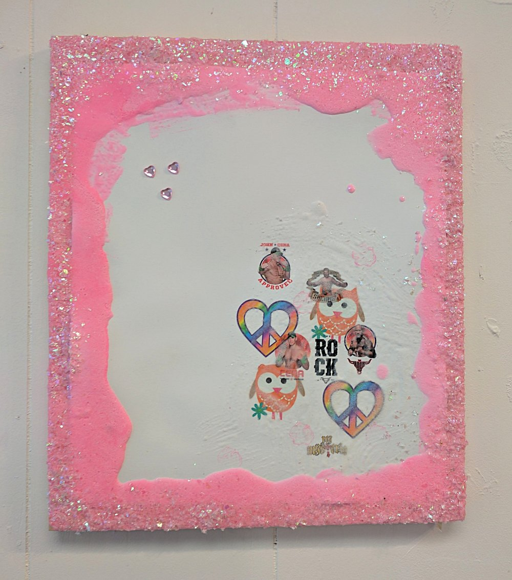 "It's a Party 3   Sugar paste, acrylic, confetti, temporary tattoos, fake jewels, and wood  2017  From ""Cry if I want 2"" a collaborative show with Jessica Bingham  Her website: http://www.jessicabinghamart.com/"
