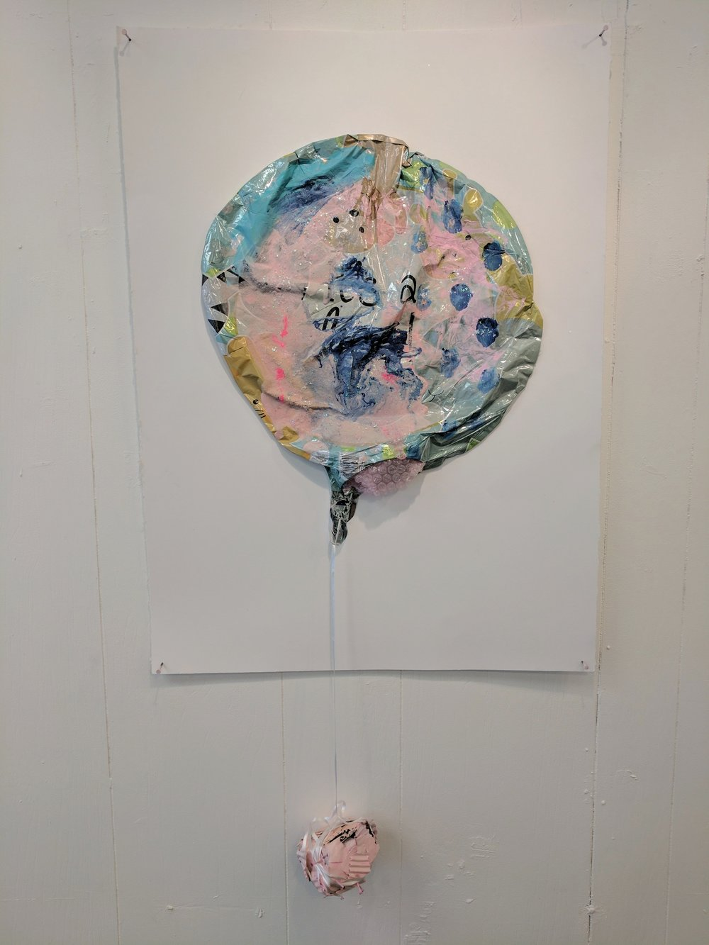 "It's a Party 5   Balloon, acrylic, sugar paste, glitter, cardboard, and nails on paper  2017  From ""Cry if I want 2"" a collaborative show with Jessica Bingham  Her website: http://www.jessicabinghamart.com/"
