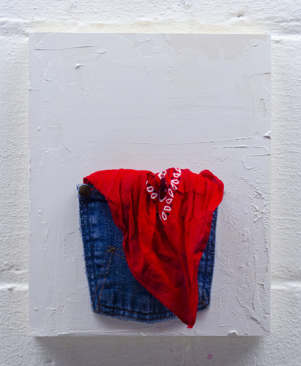 Knuckles   2017  Acrylic, molding paste, denim, bandana on wood panel