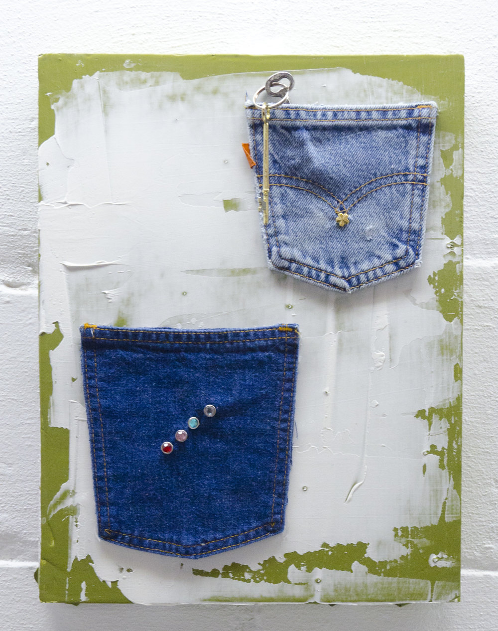 Yours or Mine?   2017  Denim pocket, rhinestones, keys, modeling paste, and acrylic on foam board