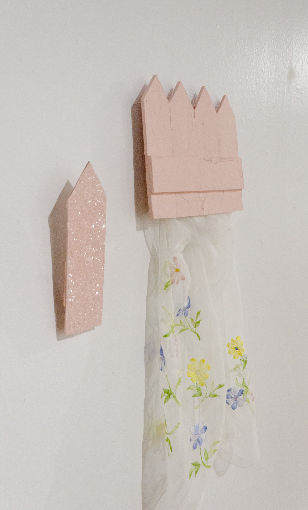 Just a bit of a garden  (Detail)   2018   Acrylic, glitter, and fabric, on foam and wood