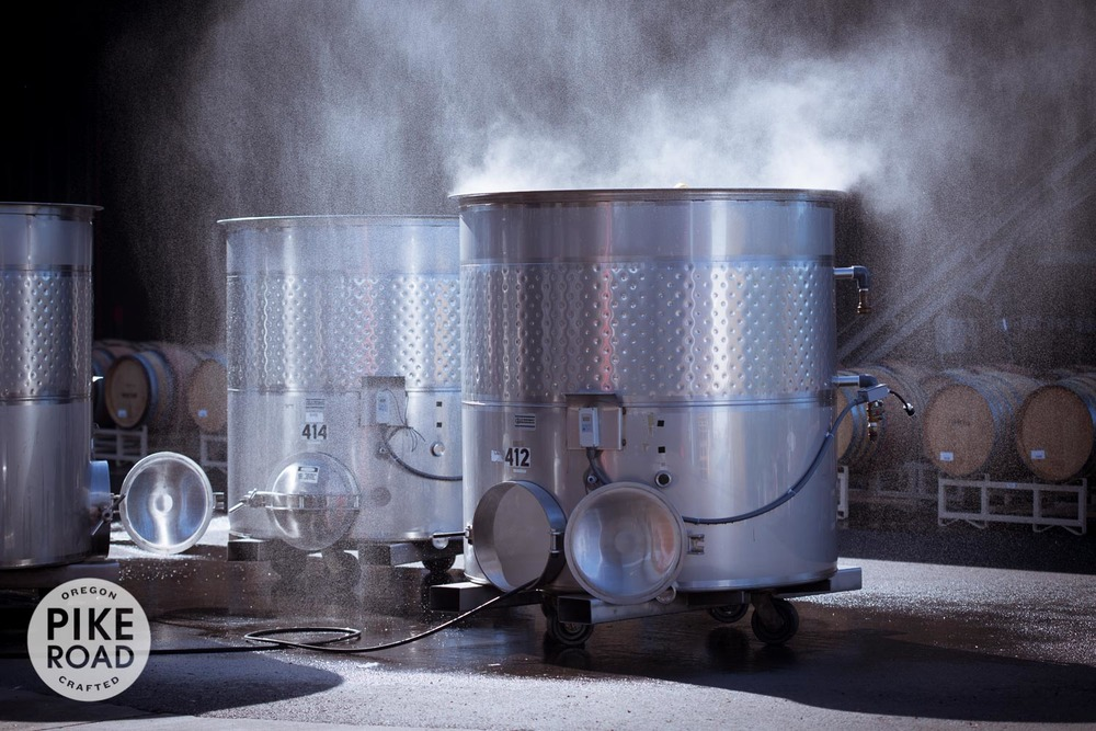 Our small stainless steel fermentors get steam cleaned after the Pike Road Pinot Noir is put to barrel