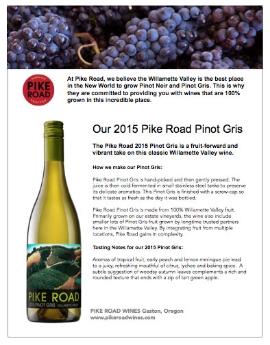 2015 Pinot gris fact sheet