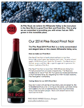 2014 Pinot noir fact sheet