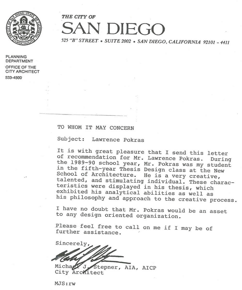 LETTER OF RECOMMENDATION - MICHAEL J. STEPNER    CITY ARCHITECT SAN DIEGO, CALIFORNIA