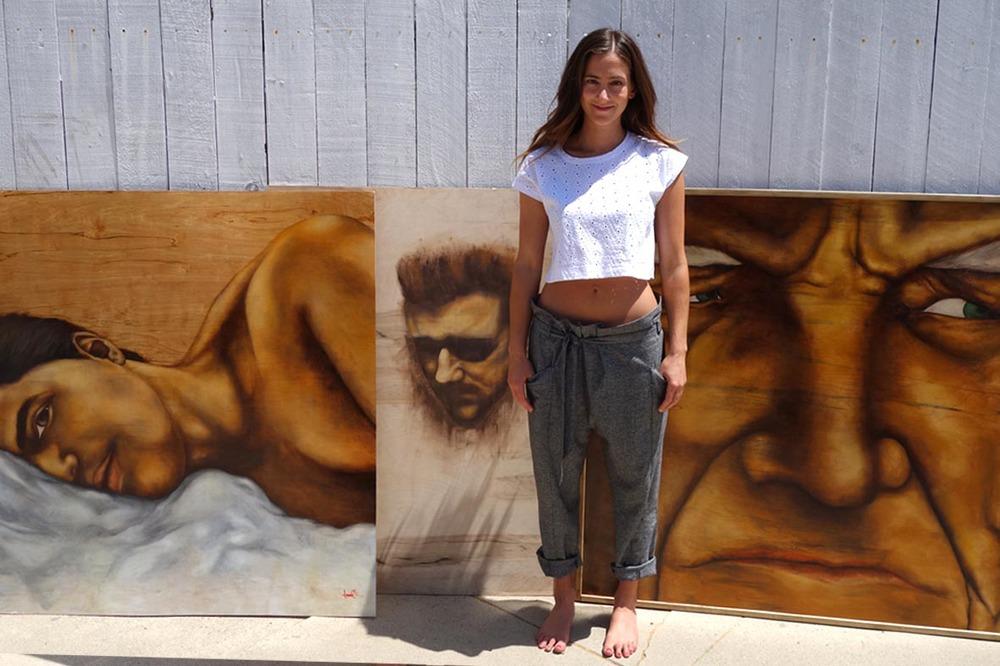 Artist with her men