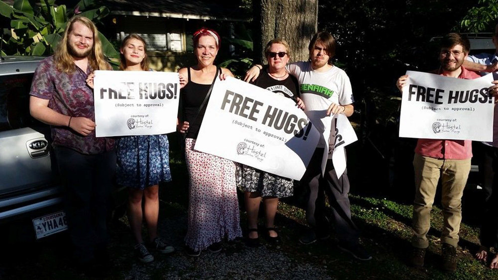 Bennett with family and friends before promoting her HostelBR concept with free hugs!
