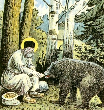 Saint Seraphim feeding a bear outside of his hermitage (from lithograph The Way to Sarov, 1903). Image Source: Wikipedia