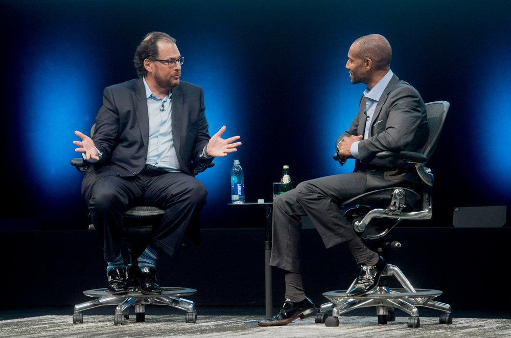 Marc Benioff and Tony Prophet, Salesforce  Image Source:  TechCrunch