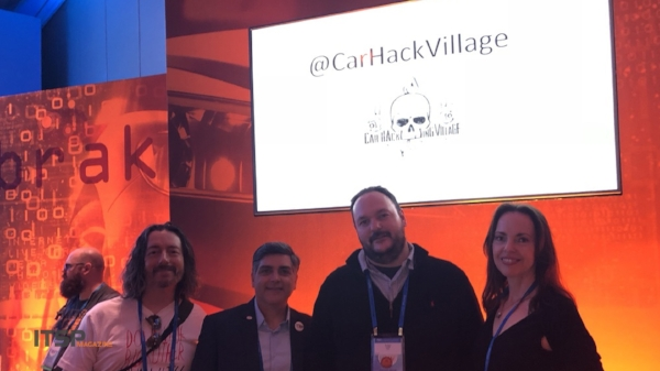 Car Hacking Village : (Left to Right) Marco Ciappelli, Sean Martin, Robert Leale from the Car Hacking Village, and Selena Templeton.