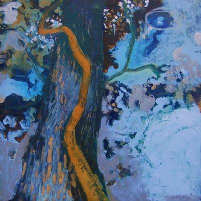 """Mama Tree    16"""" x16"""" oil on plaster on wood"""