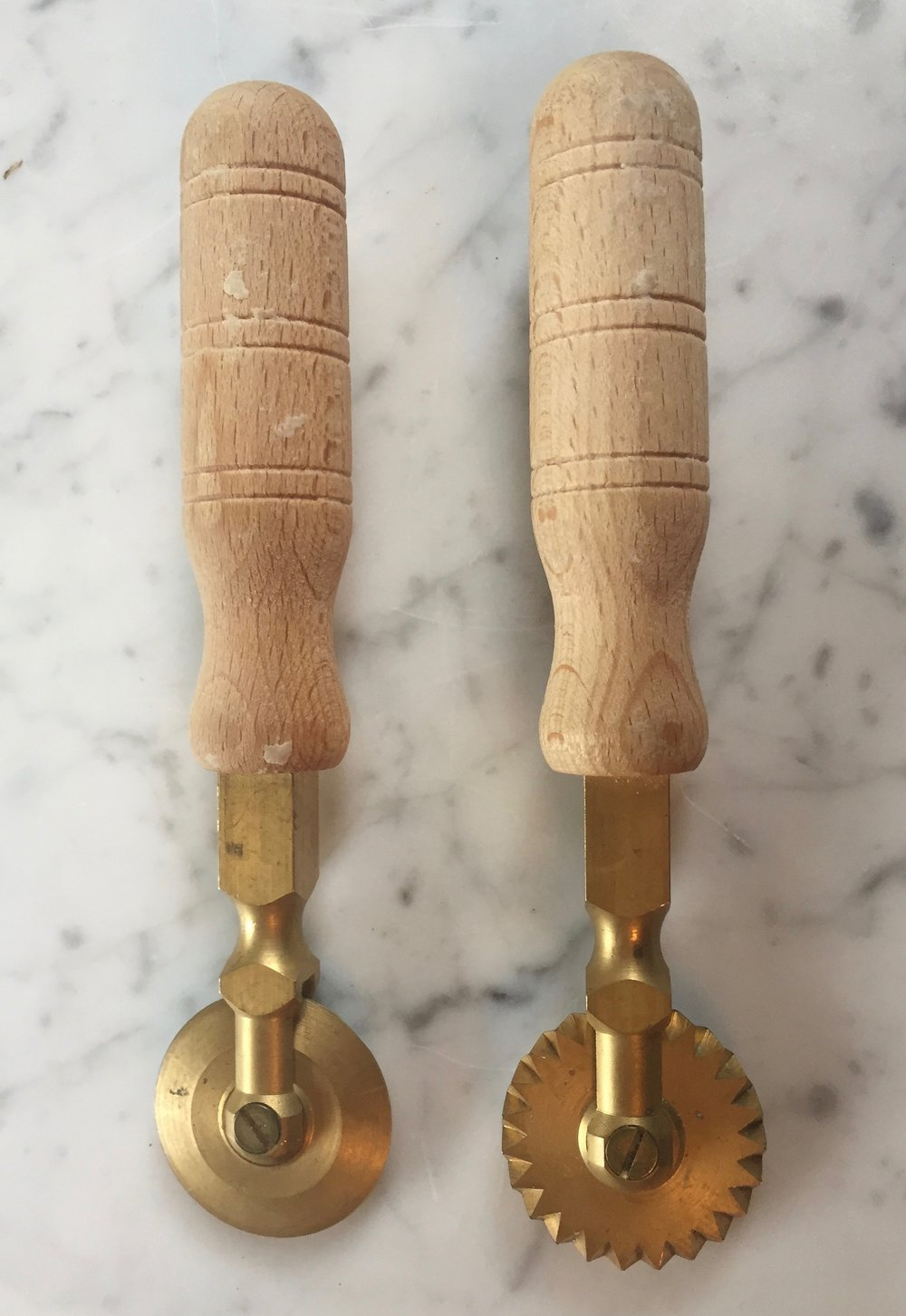 Italian brass toothed ravioli cutter with wooden handle     - awesome!