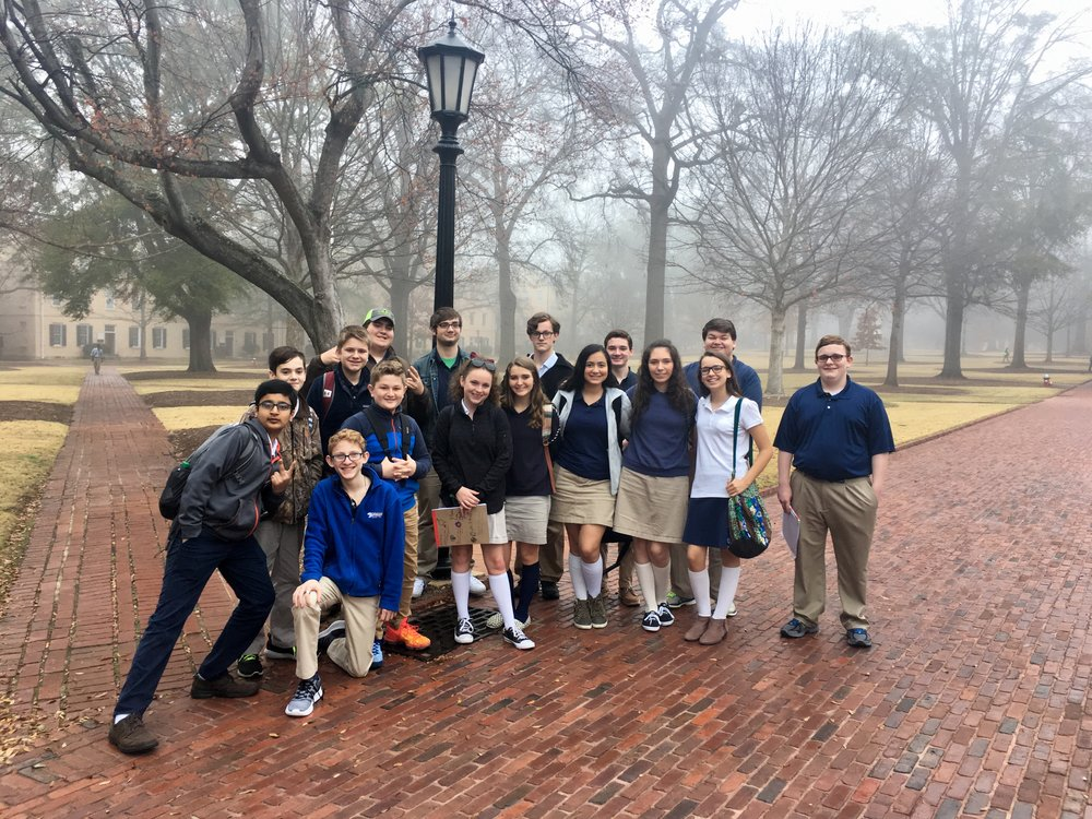 Students exploring the Horseshoe at the University of South Carolina