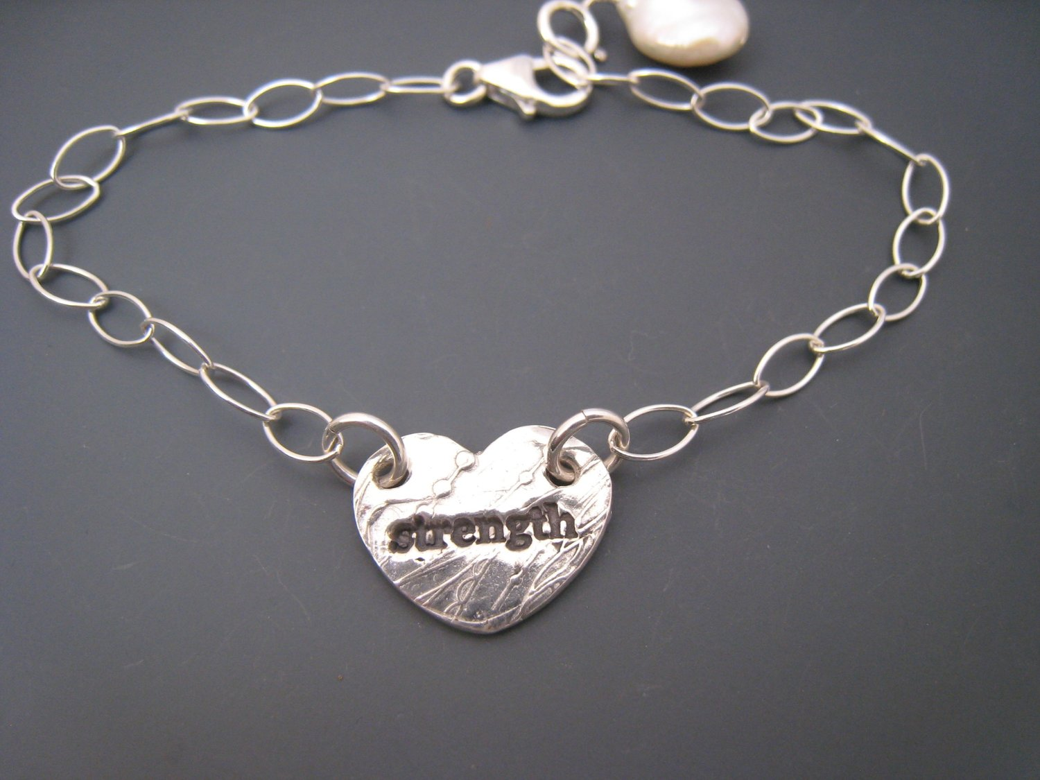 f10fffbe5863e Heart Charm Bracelet Strength- choose your word — Amling Designs Jewelry-  Shop all Collections