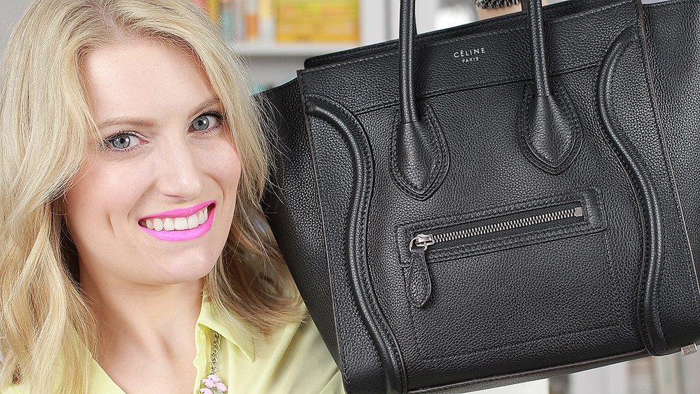 celine luggage grained leather black